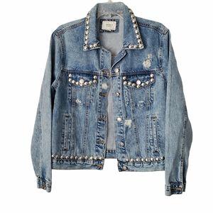 NWOT Forever 21 Studded Distressed Denim Jacket